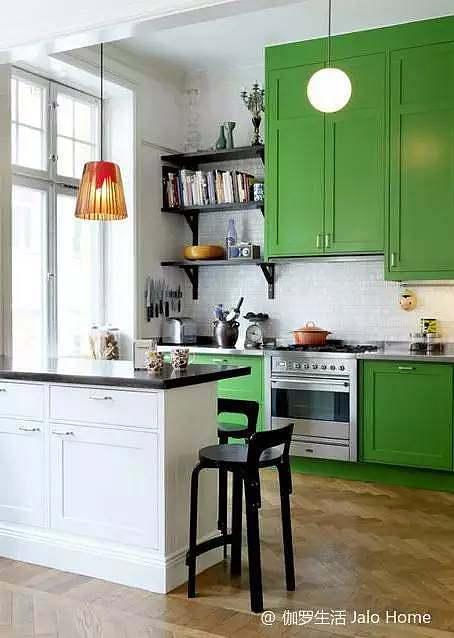 厨房绿色小橱柜设计图