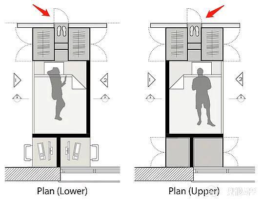 双胞胎房间旁边便是两个卫生间, 设计师巧妙的用挂墙马桶产生的凹位