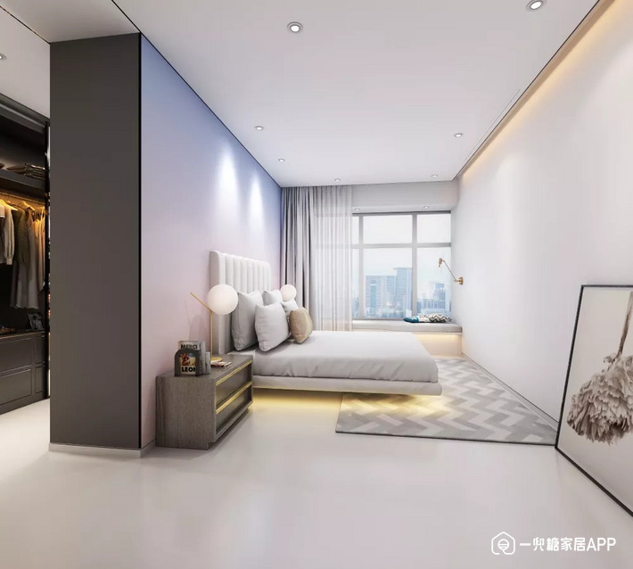 主卧的色彩使用极具文艺风格,背景墙的渐变色设计让室内色彩富于变化