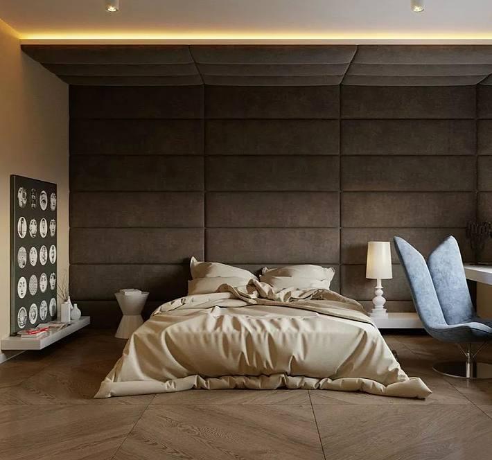 在一些北欧,日式,现代等风格的卧室里,可见到木板上墙的装饰方式.