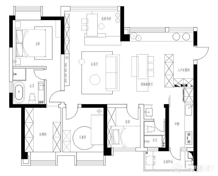 三室一厅地暖设计图