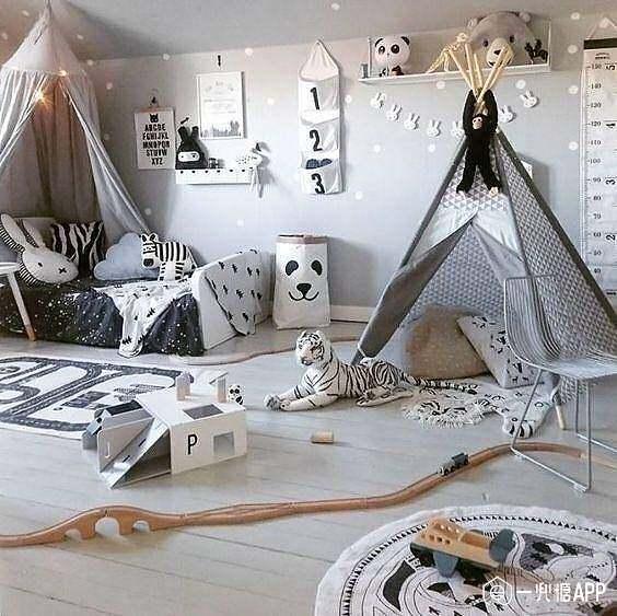 儿童房的装饰以暖色为主,可以铺地毯呀,也可以放置个小帐篷.