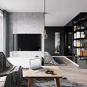 这个 35m² 单身男子公寓太帅气!用黑灰白设计拯救小户型