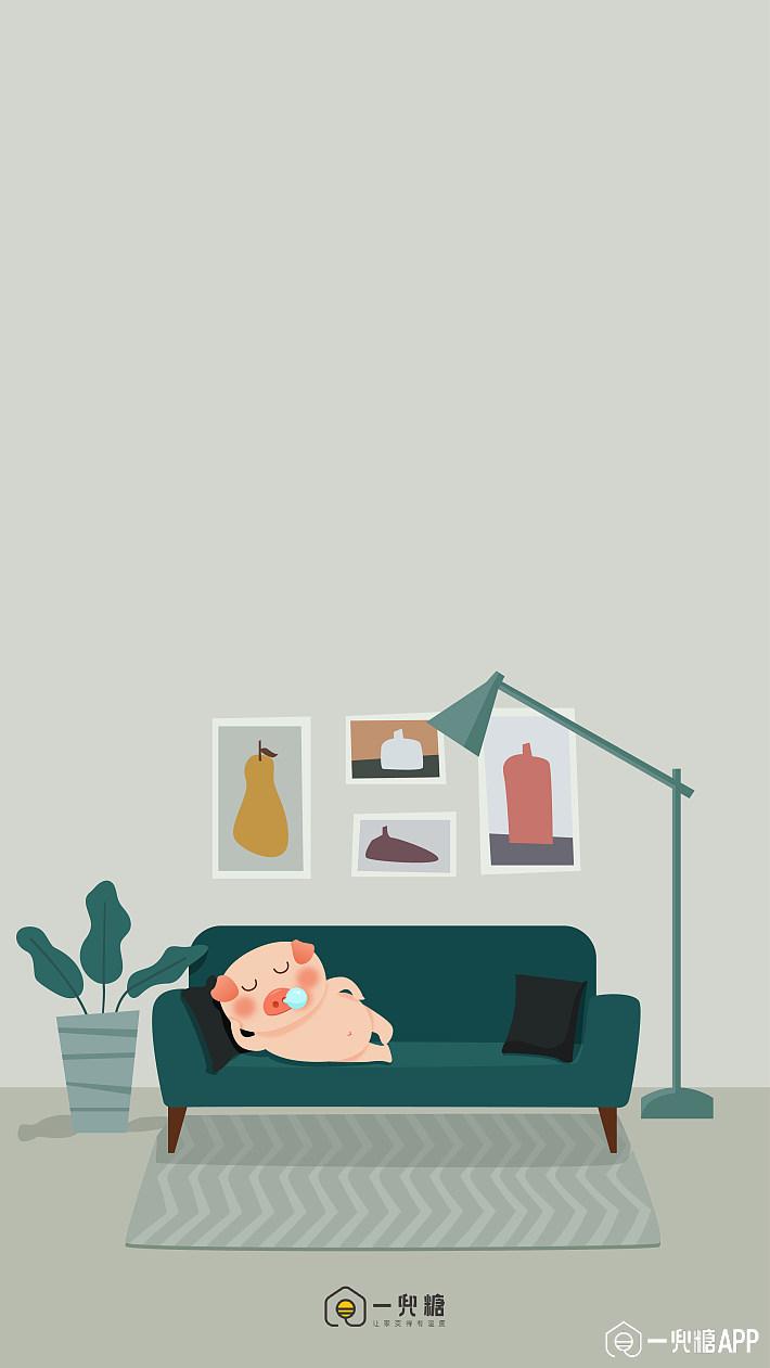 糖友福利 | 手绘壁纸:小猪呆呆的幻想家