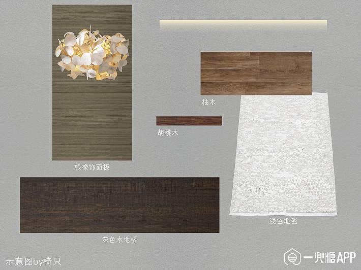 该例采用大面积黑色石材上墙,和丰富的木材、金属,皮革一同营造低调、沉稳充满内在激情的氛围  暖灰墙漆和浅驼色皮革,胡桃木和烟熏白橡,色彩相似但肌理和质感不同。  石材做分缝的设计更能突显其质感。  色彩材质表 相似搭配客厅空间效果(图源pinterest)   更多暗调暖灰配色参考  (图源pinterest) 此网图精彩的地方在于墙面顶面除了通体灰色的石膏线外,挂画的基色居然和墙面相同。