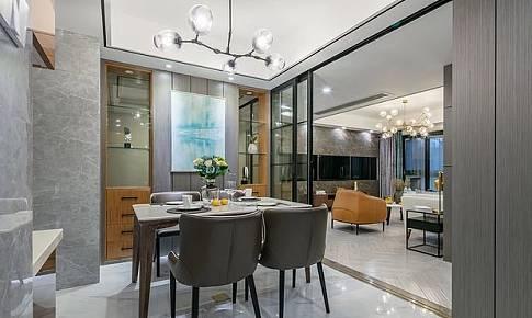半開放式的廚房,書房共用一道移門,實用又美觀!