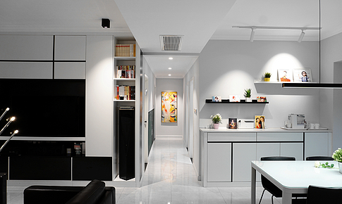 洗衣做飯才是家的價值所在,無主燈的黑白灰混搭