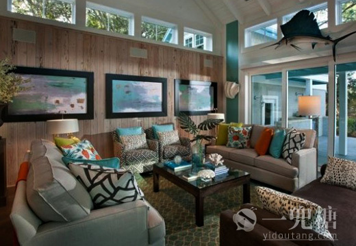 落地窗让整间客厅如果海底世界一般奇幻美妙 家装样板房装修