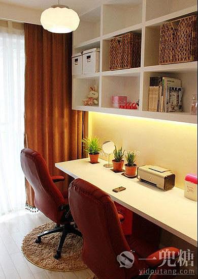 [宜家简约书房]红白搭配,色彩饱和度高,让人明快开朗