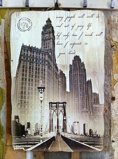 墙饰浪漫风光欧式建筑物速写做旧木