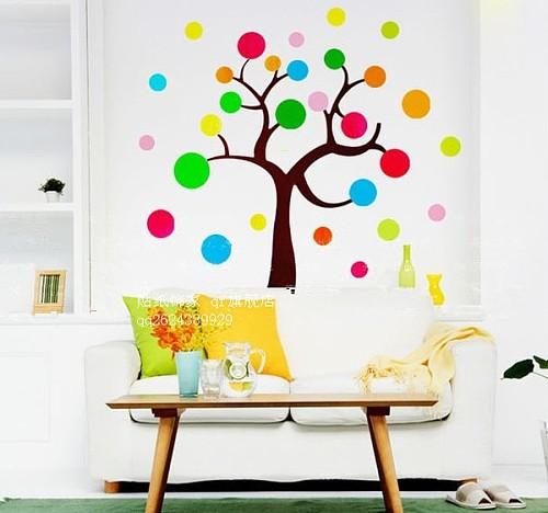 幼儿园教室墙面装饰组合贴画贴图七彩圆圈大树 可做班级评比栏