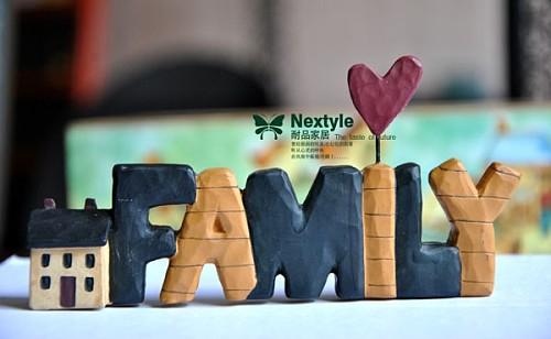 美式乡村风格 树脂彩绘英文字母 family 家庭 家