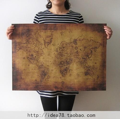 仿古世界地图 藏宝图 怀旧复古 牛皮纸海报 装饰