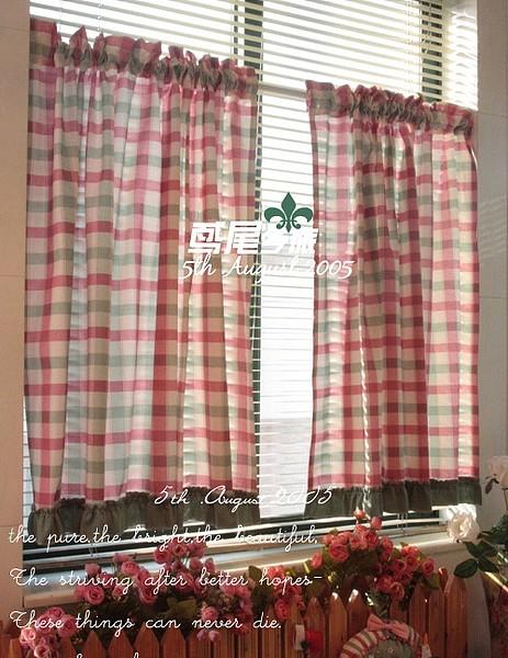 绿荷叶 美式乡村红绿格 半帘 柜门 单片价格_图1