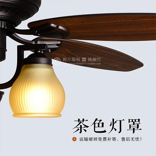 美式乡村田园吊扇灯欧式仿古木叶电扇灯客厅餐厅风扇灯复古吊灯_图5