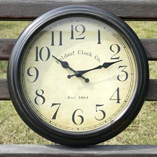 包邮欧式复古钟表美克美家简约客厅卧室美式铁艺乡村静音艺术挂钟