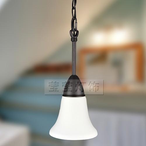 莹莹灯饰 KS 单头吊灯 吧台水槽欧式美式铁艺白玉玻璃原创正品_图2