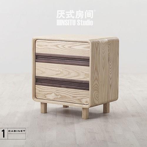 蜡黑蜡油双胡桃实木复古床头柜木抽屉设计师半开放式装修设计图片