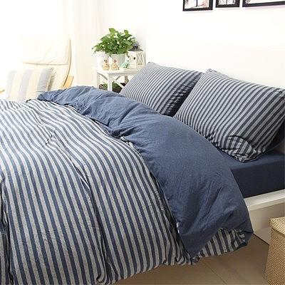 良品天竺棉针织四件套 简约全棉条纹被套床单4件套纯棉裸睡床品_图2