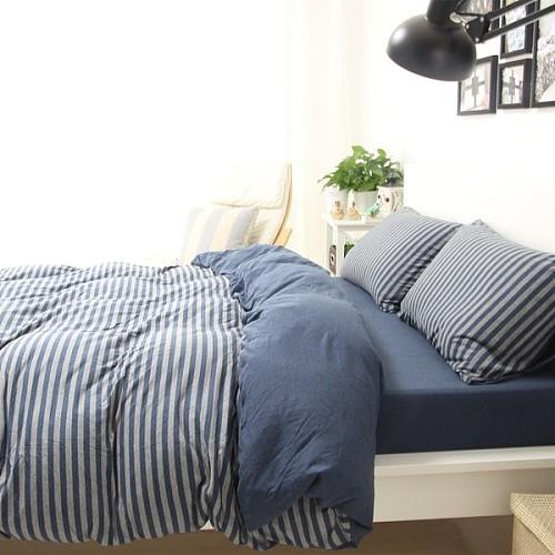 良品天竺棉针织四件套 简约全棉条纹被套床单4件套纯棉裸睡床品_图3