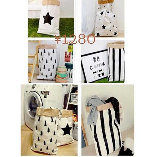 奈吉小妹妹ins收纳袋儿童房整理袋牛皮纸袋卡通熊猫纸袋收纳袋_图3