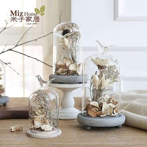 简约现代家庭桌面装饰品小摆件 客厅办公室创意玻璃罩摆设含内饰_图1