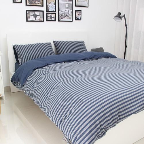 良品天竺棉针织四件套 简约全棉条纹被套床单4件套纯棉裸睡床品_图4