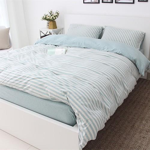 良品天竺棉针织四件套 简约全棉条纹被套床单4件套纯棉裸睡床品_图1