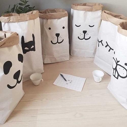 奈吉小妹妹ins收纳袋儿童房整理袋牛皮纸袋卡通熊猫纸袋收纳袋_图1