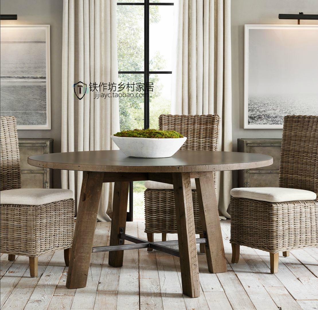 法式美式乡村欧式田园橡木实木拼花圆餐桌早餐桌热卖图片