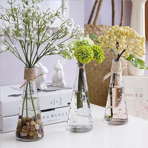 新款宜家纳迪时尚玻璃花瓶水培花瓶雨点花瓶窗台摆设 三件包邮_图4