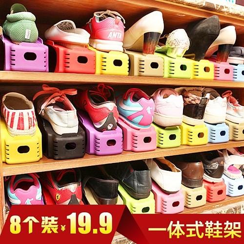 可调节一体式鞋架家居用品简易塑料鞋架大学宿舍双层鞋托收纳日韩_图1