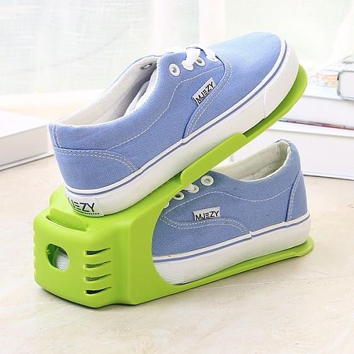 可调节一体式鞋架家居用品简易塑料鞋架大学宿舍双层鞋托收纳日韩_图2