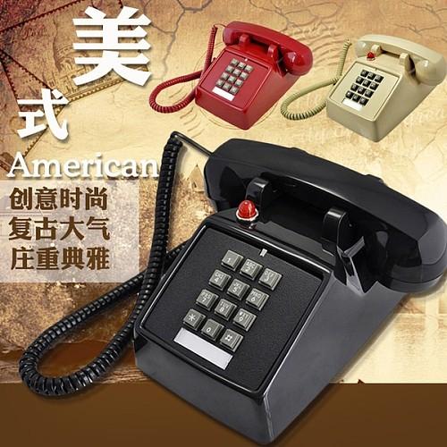比特美式办公老式电话机创意仿古电话家用复古固话座机老铃声包邮_图1