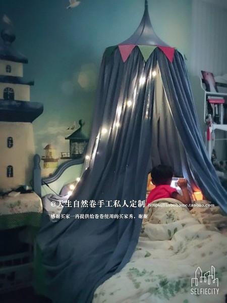 手工定制ins同款读书角圆顶帐篷 儿童房床帐床幔 公主室内游戏屋_图5
