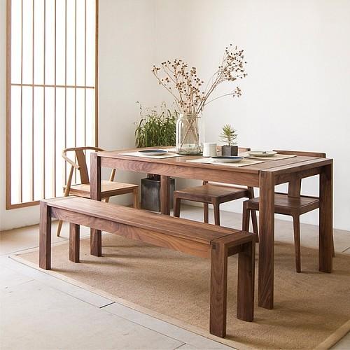 【春沐家】原创设计 白橡餐桌 橡木餐桌 工作台 黑胡桃实木餐桌_图1
