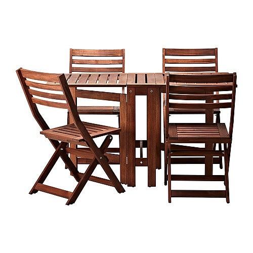 深圳上海宜家家居具正品IKEA阿普莱诺一桌四椅实木户外餐桌椅组合_图2
