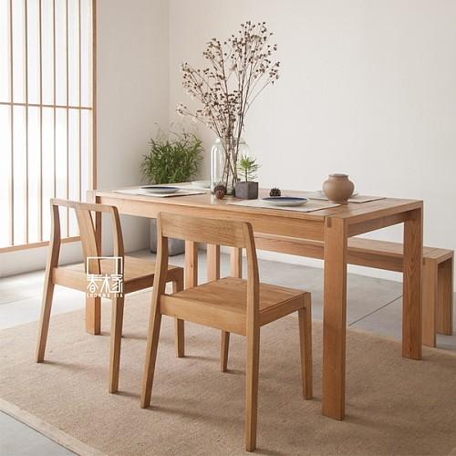 【春沐家】原创设计 白橡餐桌 橡木餐桌 工作台 黑胡桃实木餐桌_图2