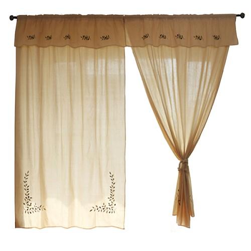 外贸希腊原单 美式乡村 窗幔窗帘成品卧室 棉麻刺绣遮光客厅窗帘_图5