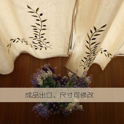 外贸希腊原单 美式乡村 窗幔窗帘成品卧室 棉麻刺绣遮光客厅窗帘_图3