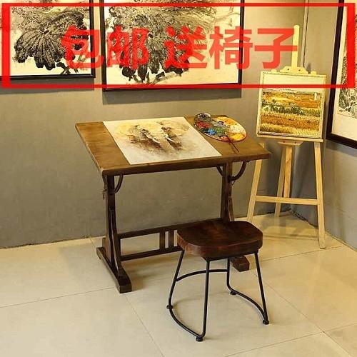 美式书画桌绘图桌书法办公桌设计师桌子画架实木工作台绘画桌画案_图2