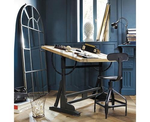 美式书画桌绘图桌书法办公桌设计师桌子画架实木工作台绘画桌画案_图3