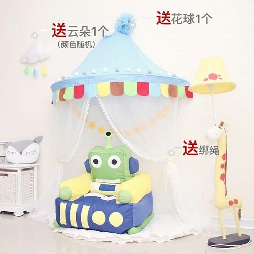 北欧儿童小帐篷床幔蚊帐室内公主游戏房玩具屋宝宝半月读书角布置_图2