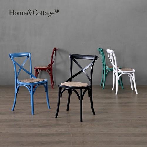 HC 欧法美式乡村田园实橡木架餐椅 复古个性背叉椅叉骨交叉背椅子_图1