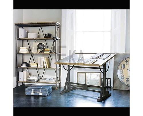 美式书画桌绘图桌书法办公桌设计师桌子画架实木工作台绘画桌画案_图5