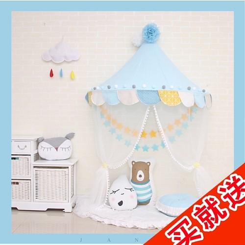 北欧儿童小帐篷床幔蚊帐室内公主游戏房玩具屋宝宝半月读书角布置_图1