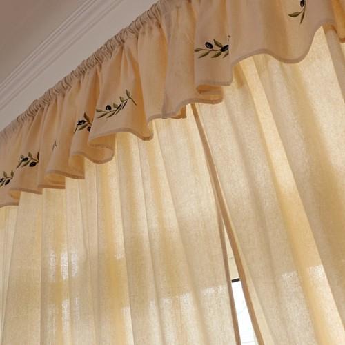 外贸希腊原单 美式乡村 窗幔窗帘成品卧室 棉麻刺绣遮光客厅窗帘_图4