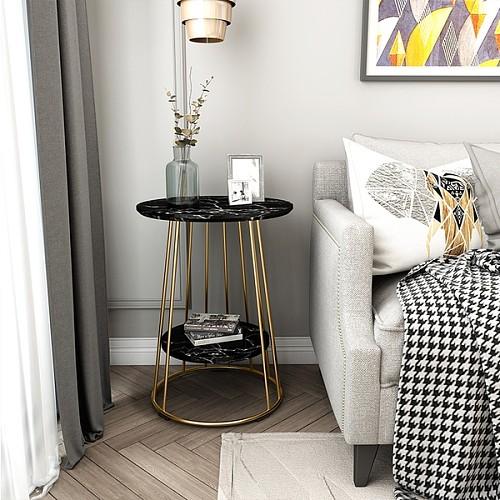 北欧大理石边几茶几简约客厅沙发小圆桌户型阳台角几创意床头桌柜_图2