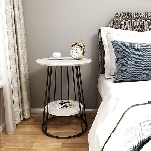 北欧大理石边几茶几简约客厅沙发小圆桌户型阳台角几创意床头桌柜_图5