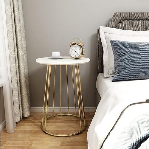北欧大理石边几茶几简约客厅沙发小圆桌户型阳台角几创意床头桌柜_图3